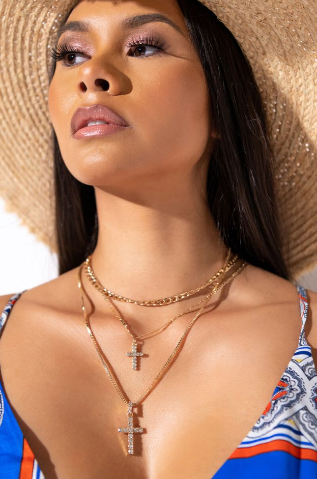 CROSS MY HEART LAYERED NECKLACE