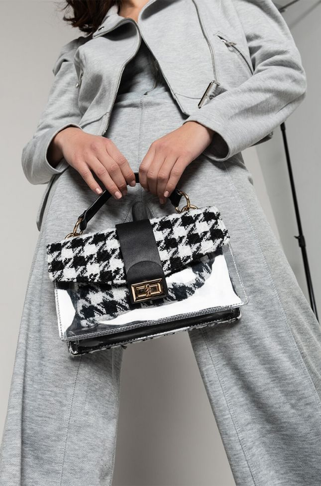 Front View Crush On You Houndstooth Print Bag in Black White