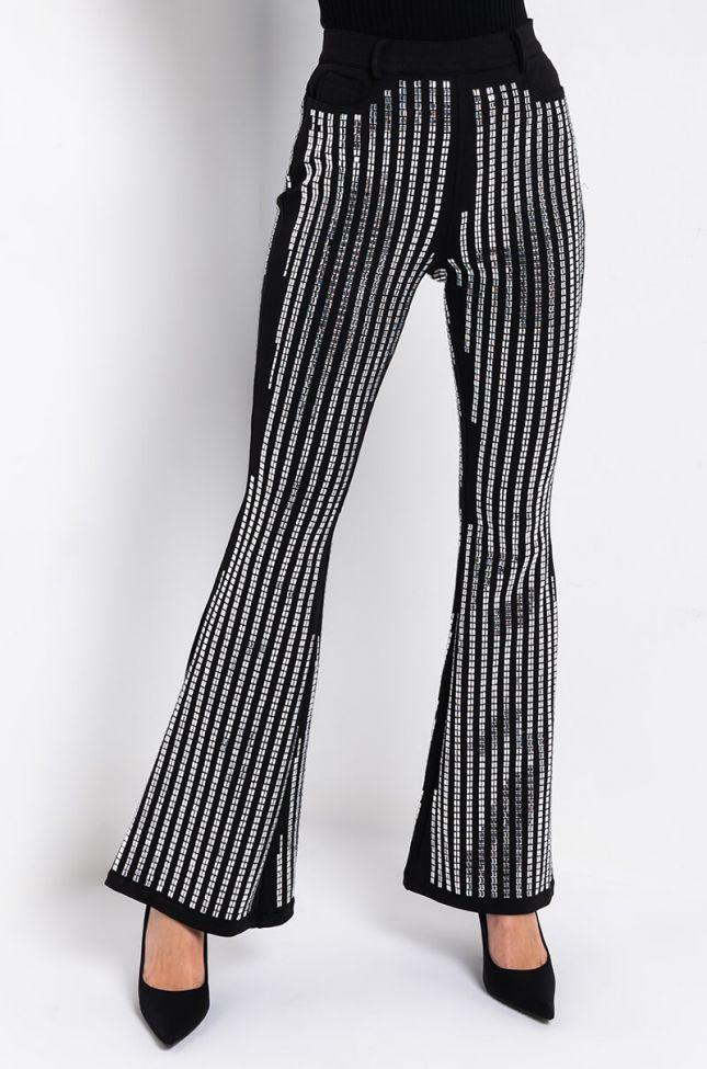 Side View Crystal Rhinestone Bandage Fashion Pants in White