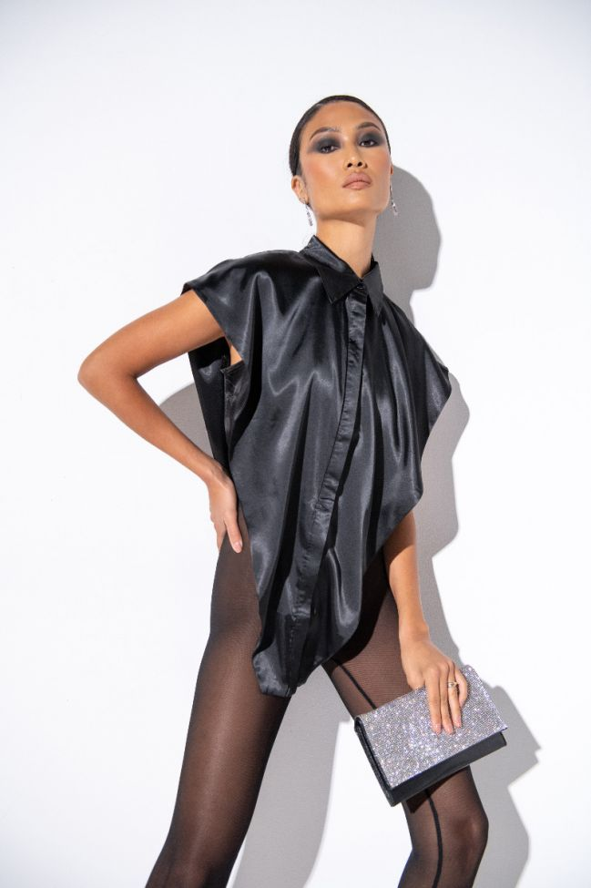 Side View Lets Make It A Thing Sleeveless Collared Blouse in Black