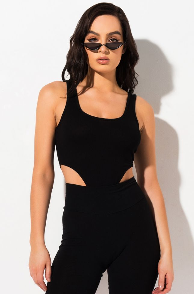 Front View Current Mood High Cut Bodysuit in Black