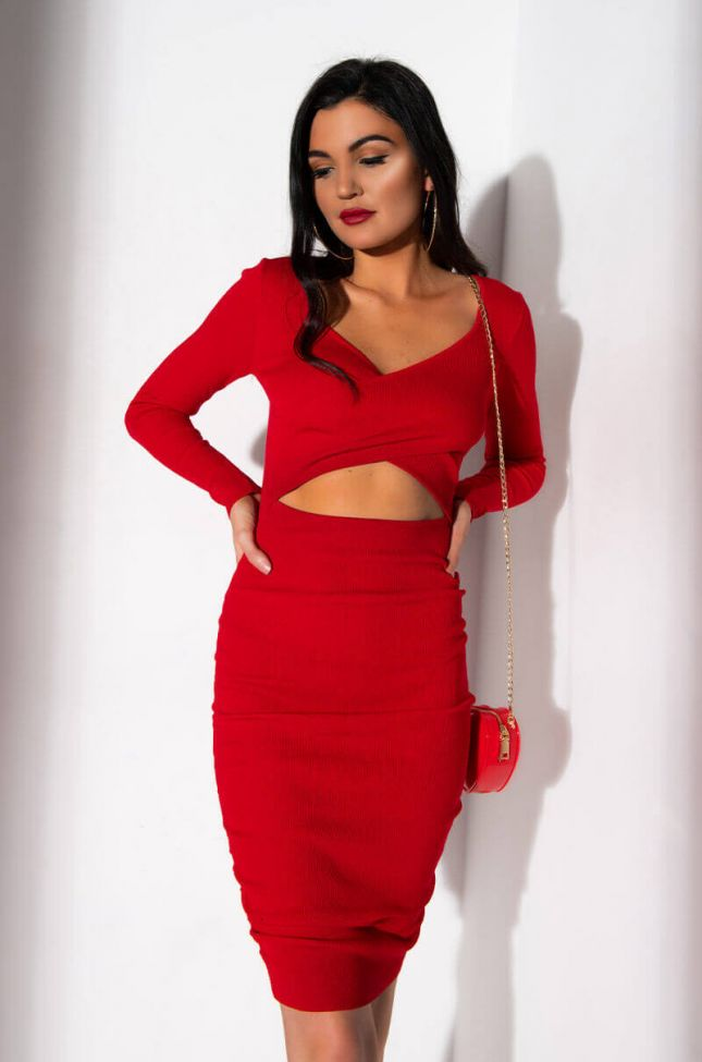 Front View Cut Out For It Long Sleeve Side Cut Out Bodycon Midi Dress in Red
