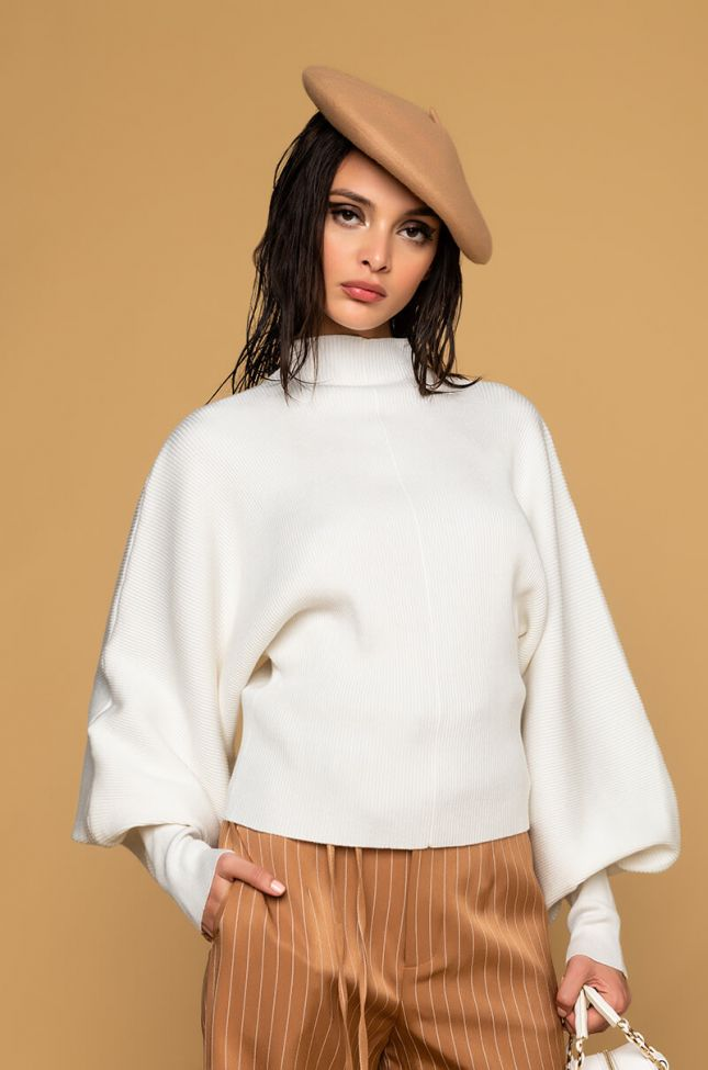 Front View Cute And Cozy Mock Neck Sweater in Ivory