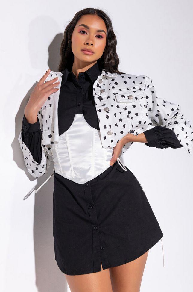 Front View Dalmatian Denim Crop Jacket in White Black