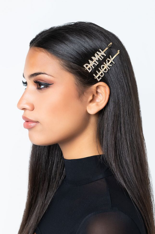 Front View Damn Lucky Hair Clip Set in Gold