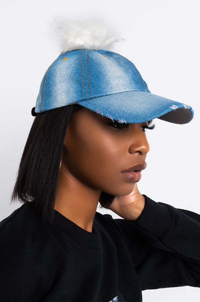 Front View Damsel In Denim Pom Baseball Hat in Light Blue