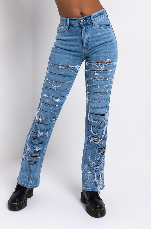 Front View Damsel In Distressed Relaxed High Waisted Jeans in Medium Blue Denim