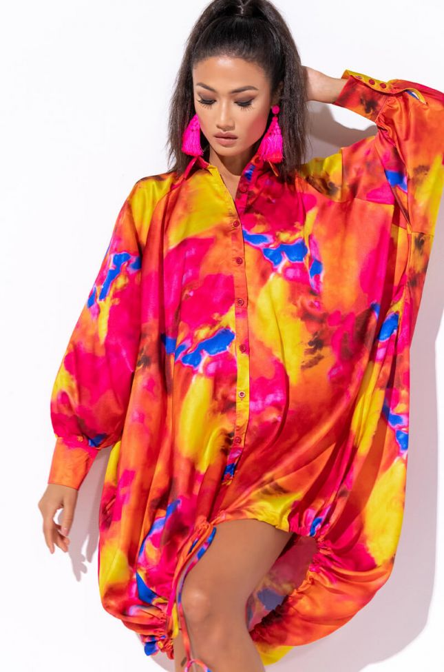 Front View Dance Under The Sunset Oversized T Shirt Dress in Orange Multi