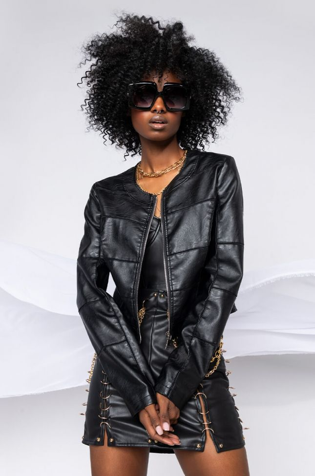 Front View Dani Pleather Mix Up Moto Jacket in Black