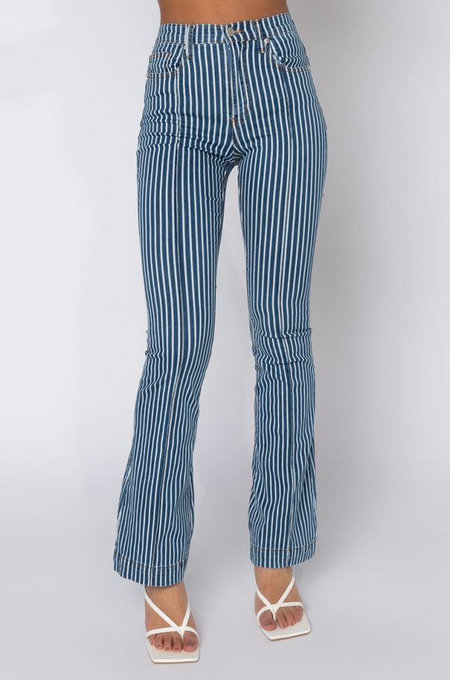 Front View Daphne High Waisted Flare Jeans  in Blue Multi