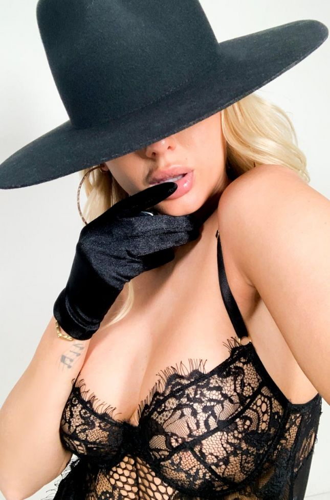 Front View Darling Satin Fashion Gloves in Black