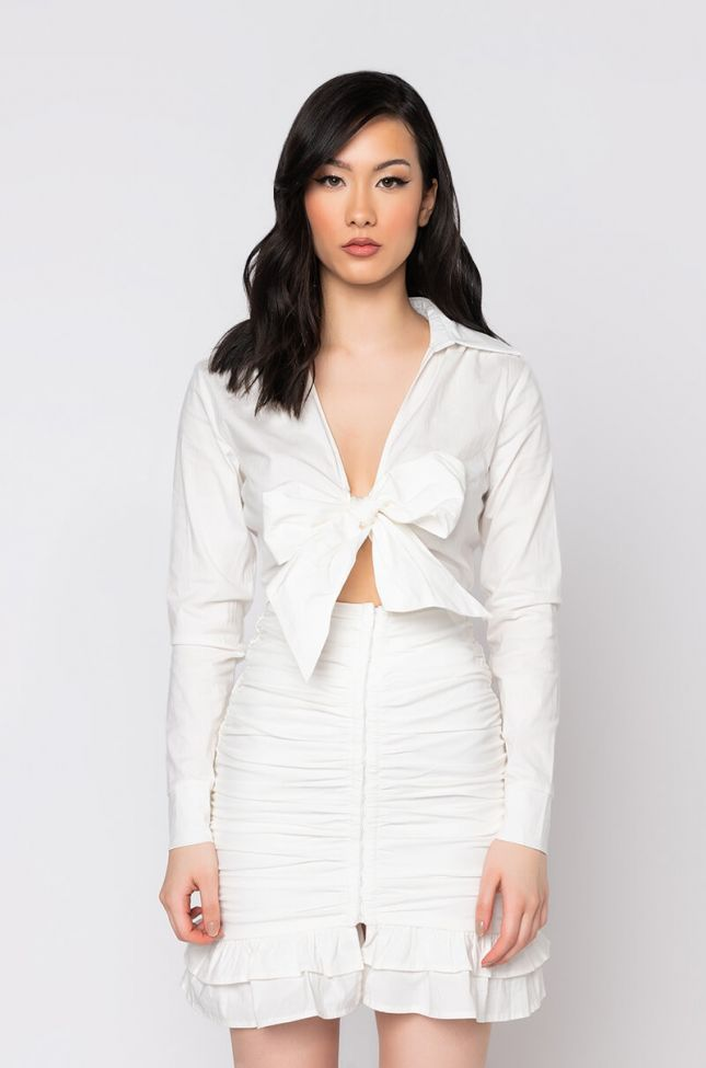 Front View Date Night Mini Dress With Ruched Skirt in White