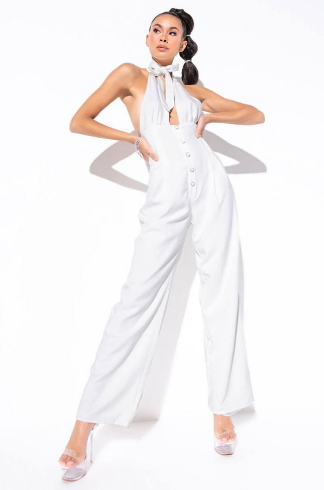 Front View Day Date Tie Top Wide Leg Jumpsuit in White