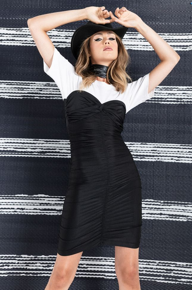 Front View Day Party Stretch T Shirt Dress in Black Multi