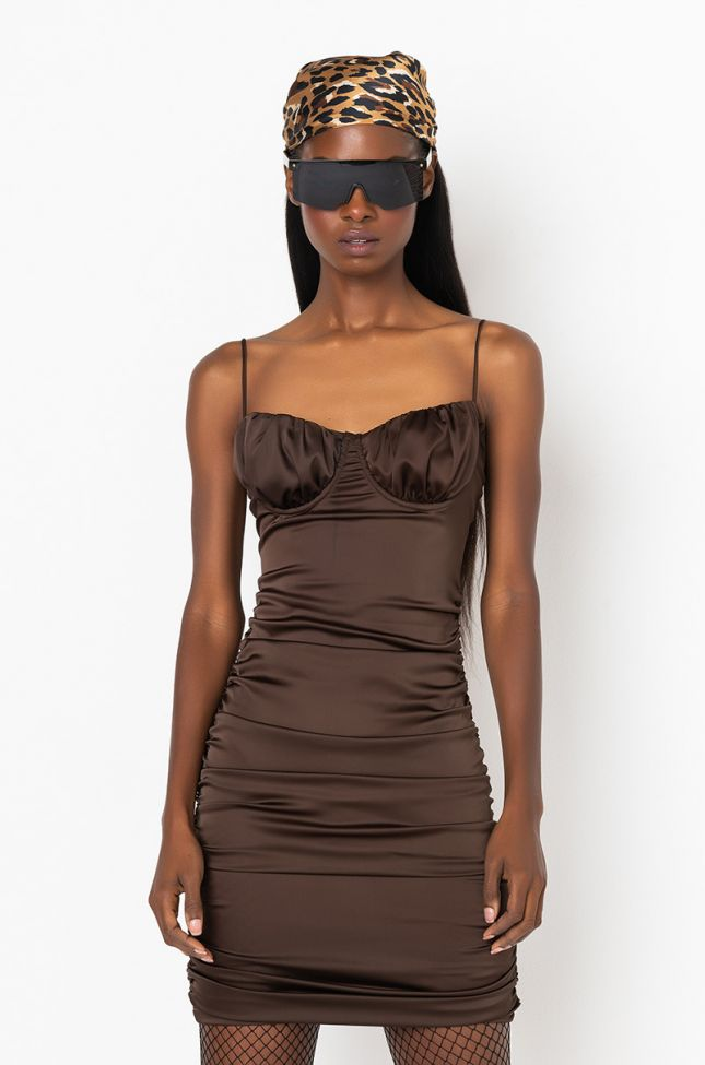 Front View Day To Night Mini Ruched Dress in Light Brown