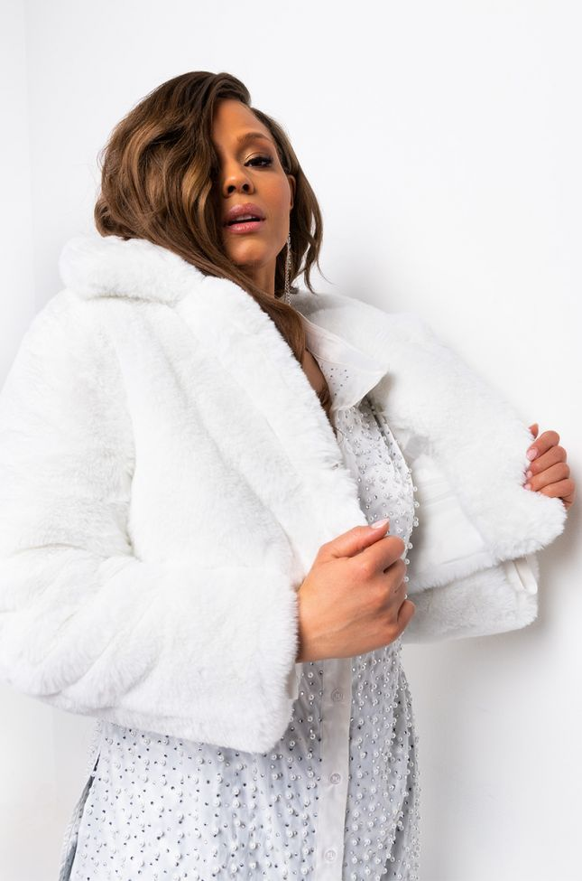 Back View Dayanne Plush Faux Fur Jacket in Natural White