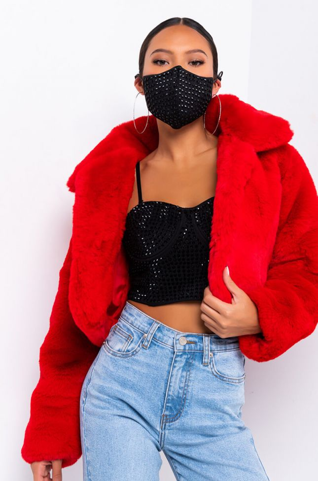 Front View Dayanne Plush Faux Fur Jacket in Red