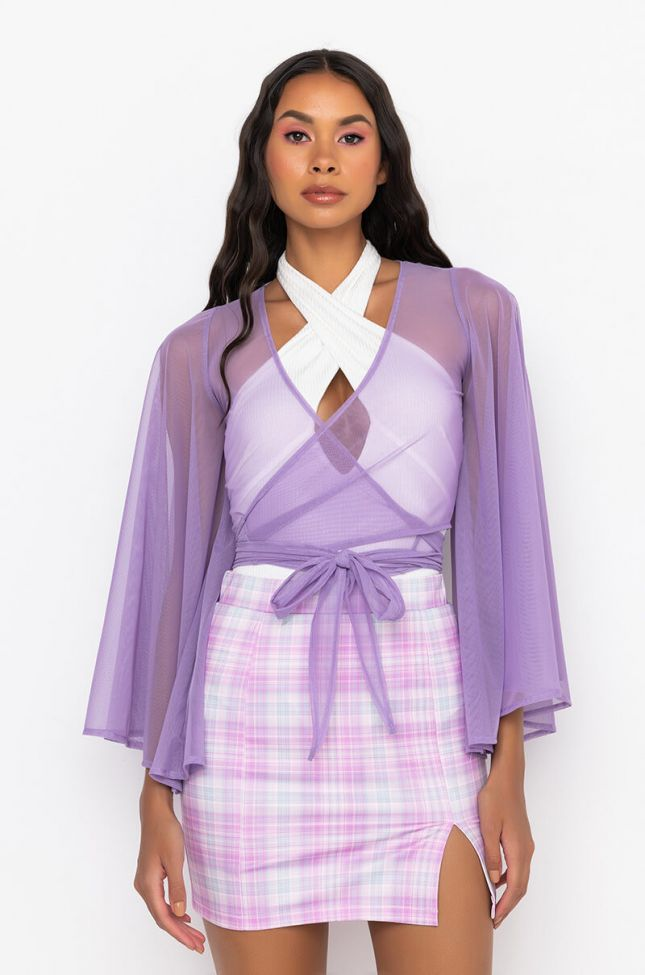 Front View Daydreamer Front Tie Mesh Top in Purple