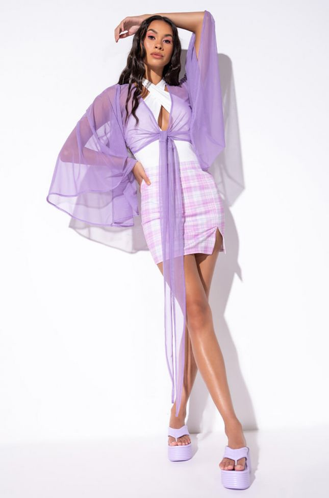 Full View Daydreamer Front Tie Mesh Top in Purple