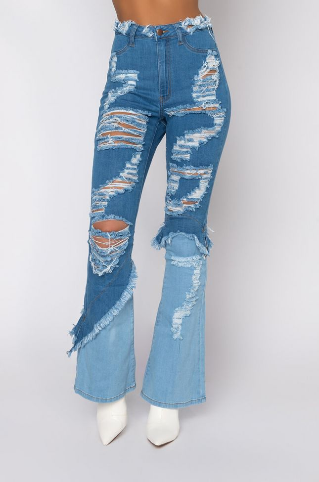 Front View Dazed For Days High Waisted Flare Jeans in Medium Blue Denim