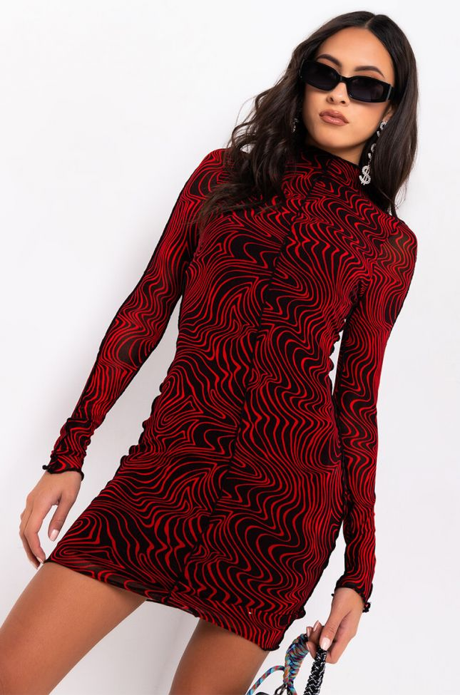 Front View Dead In Your Tracks Swirl Print Mesh Mini Dress in Red Multi