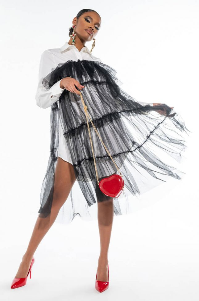 Front View Deeply In Love Fashion Tulle Midi Dress