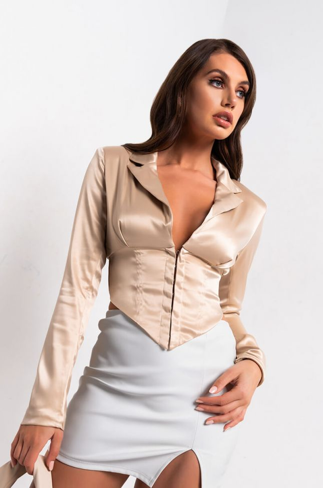 Front View Delete My Number Satin Blouse in Beige