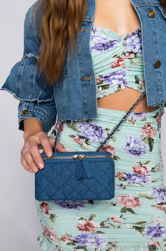 Front View Denim Quilted Cross Body Bag in Light Blue Denim
