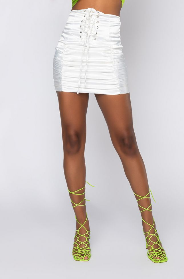 Front View Destiny Satin Mini Skirt in White