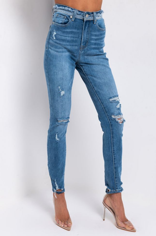 Front View Details Make Perfection High Rise Skinny Jeans in Medium Blue Denim