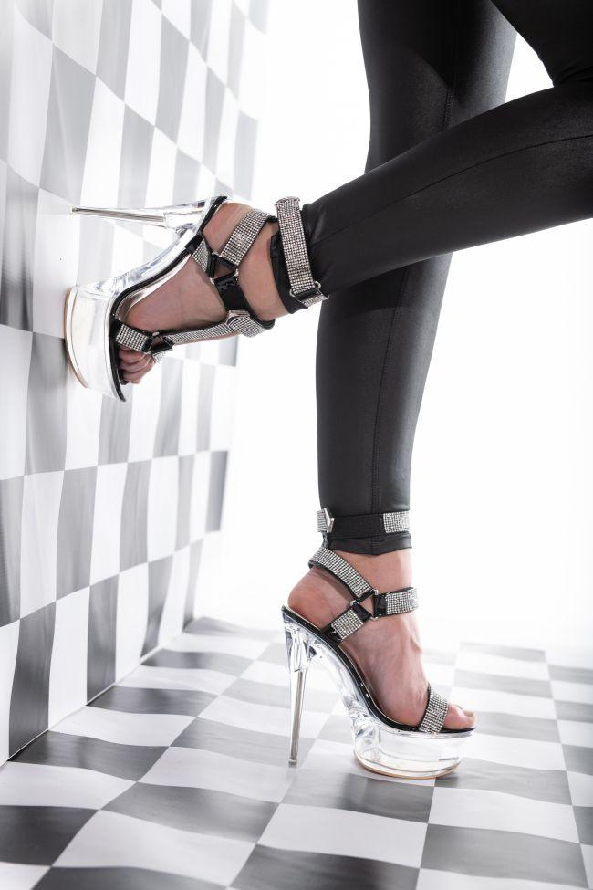 Front View Diamond Drip Stiletto Sandal In Black