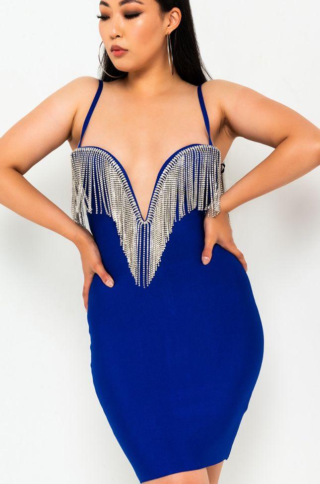Front View Diamond Drip V Neck Mini Dress in Royal Blue