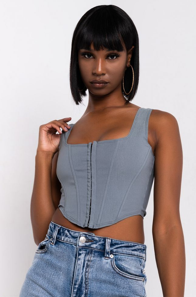 Front View Diamond In The Rough Cropped Bustier in Grey