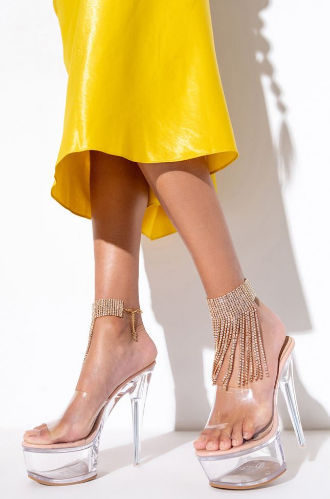 Front View Diamond Waterfall Anklet in Gold