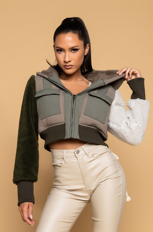 Side View Dillan Mix Media Sherpa Bomber Jacket in Olive