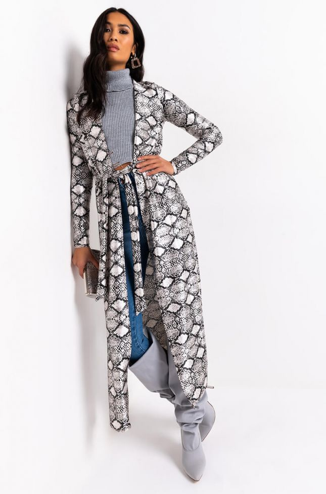 Front View Disco Snake Cardigan in White Snake