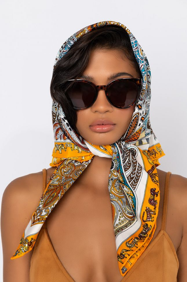 Front View Do It Like That Satin Like Scarf in Multi