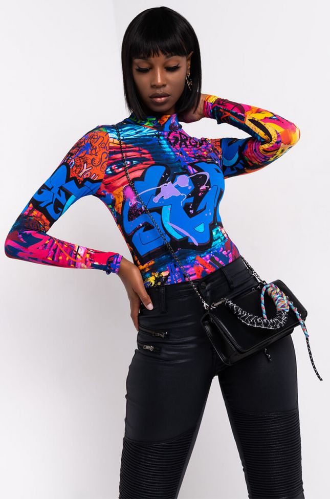 Front View Do It To Em Long Sleeve Bodysuit in Blue Multi