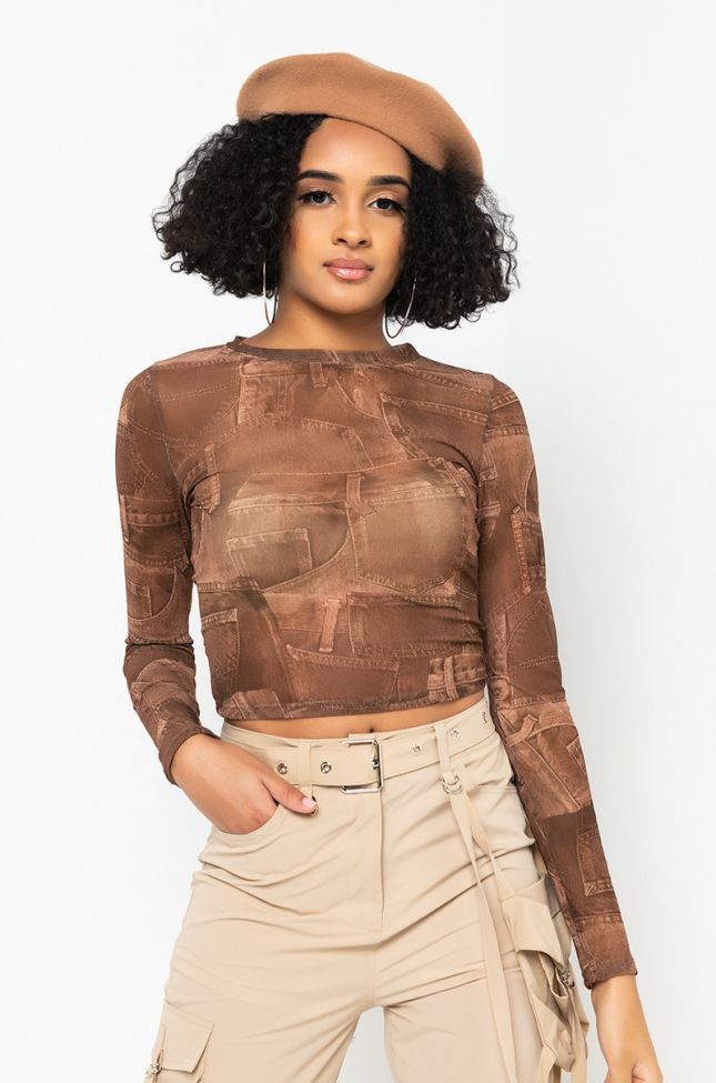 Front View Do You Love Me Long Sleeve Mesh Crop Top in Brown