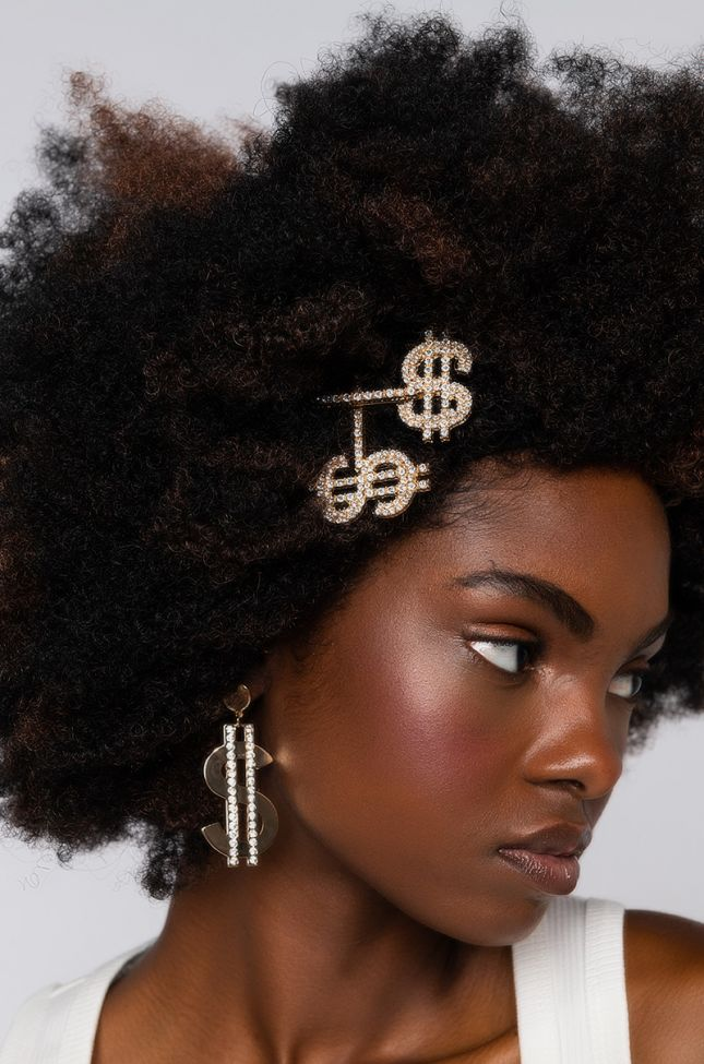 Front View Dolla Billz Hair Clip Set in Gold