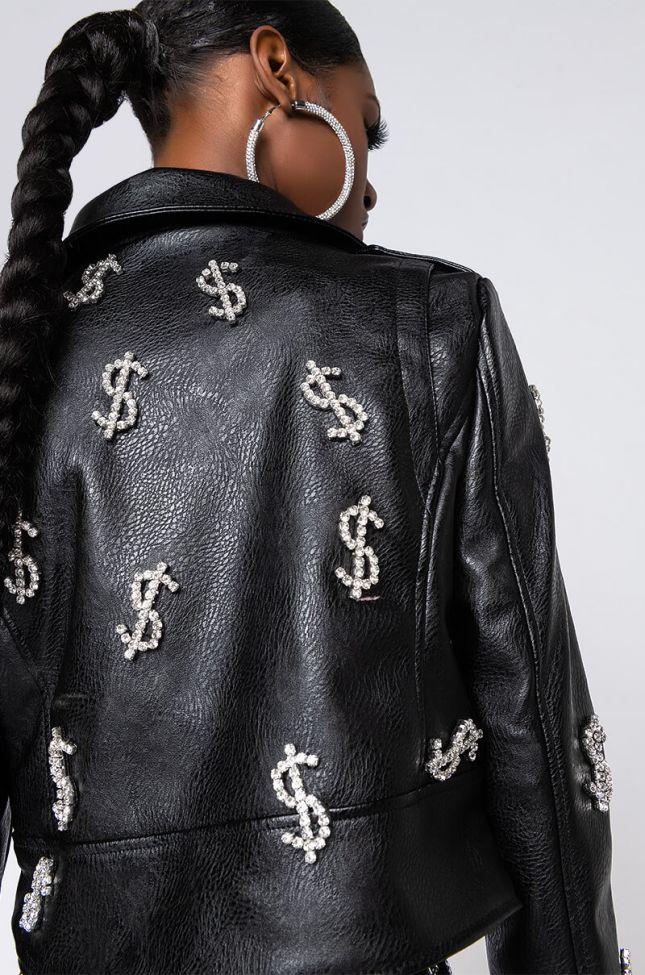 Dolla Dolla Bling Moto Jacket in Black