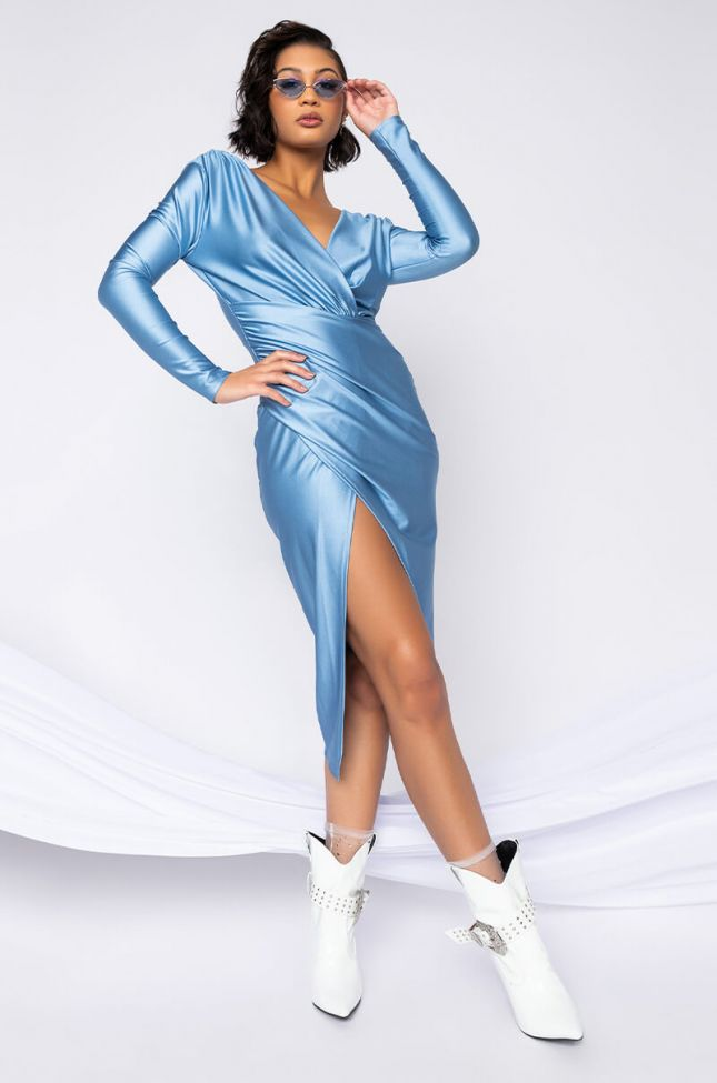 Front View Dolled Up Long Sleeve Midi Dress in Light Blue