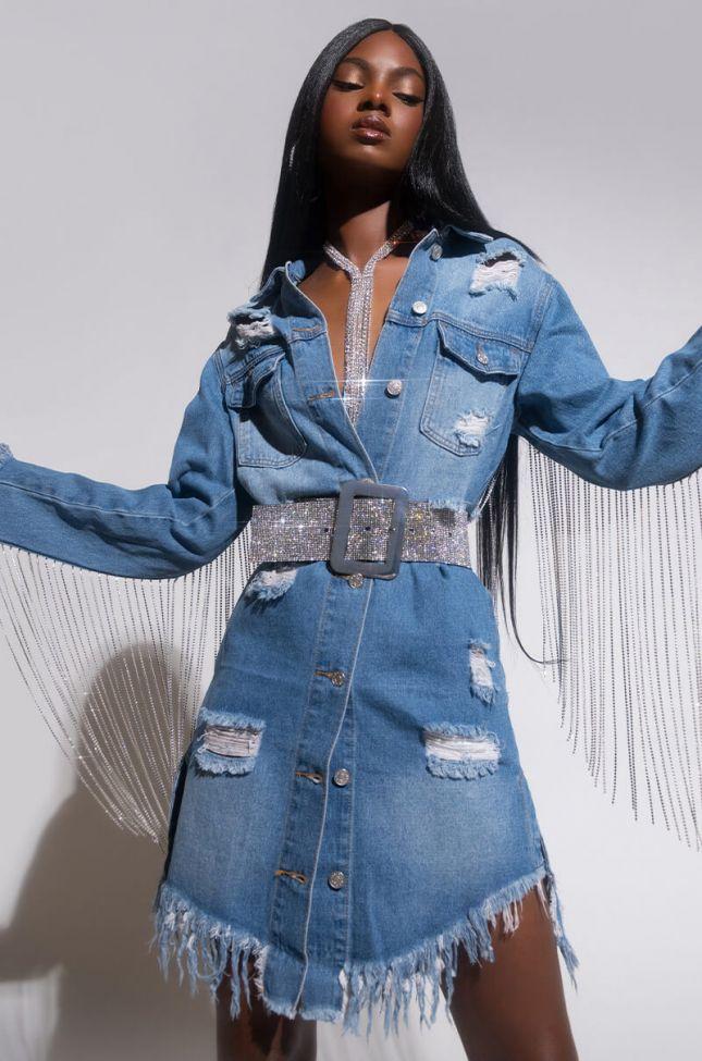 Front View Dollys Sis Rhinestone Long Denim Jacket in Medium Blue Denim