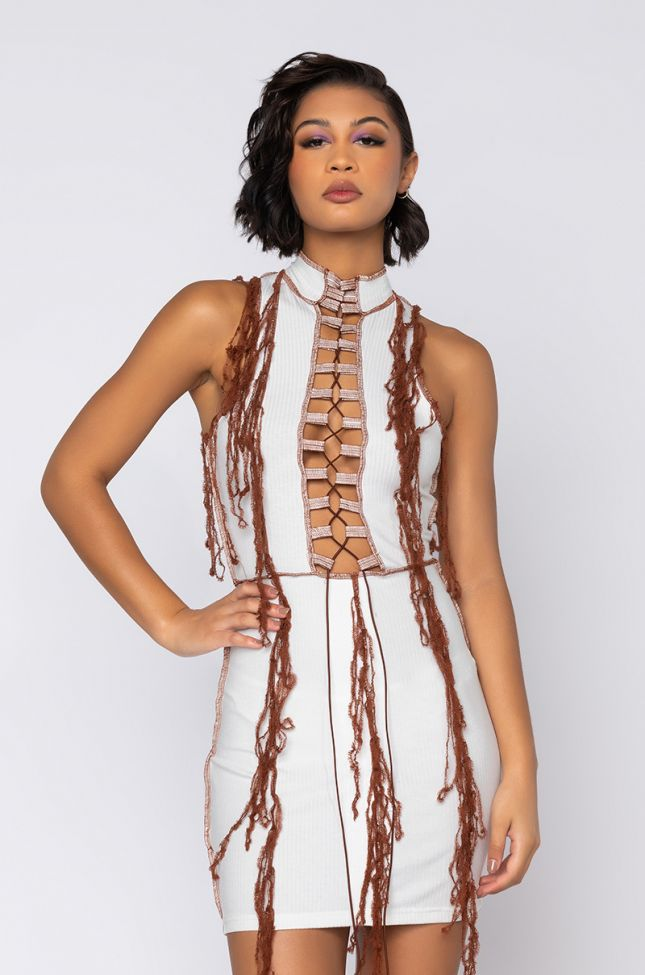 Front View Dont Be Fooled Mini Mock Neck Dress With Contrast Fabric in White Multi