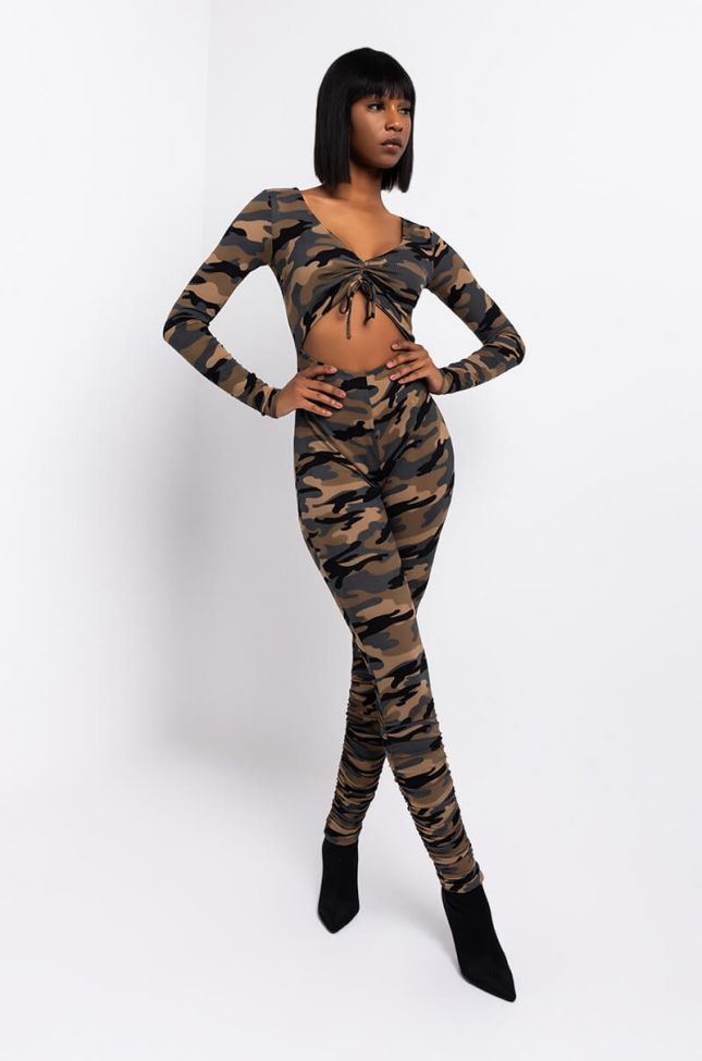 Front View Dont Blend In Stacked Legged Jumpsuit in Green Camo