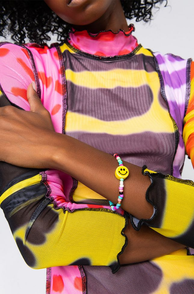 Front View Dont Forget To Smile Beaded Bracelet in Rainbow Multi