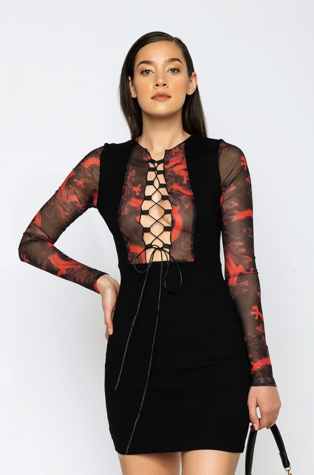 Front View Dont Hold Back Lace Up Mini Dress in Black