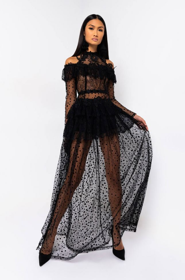 Front View Dont Know Yet Long Sleeve Maxi Dress in Black