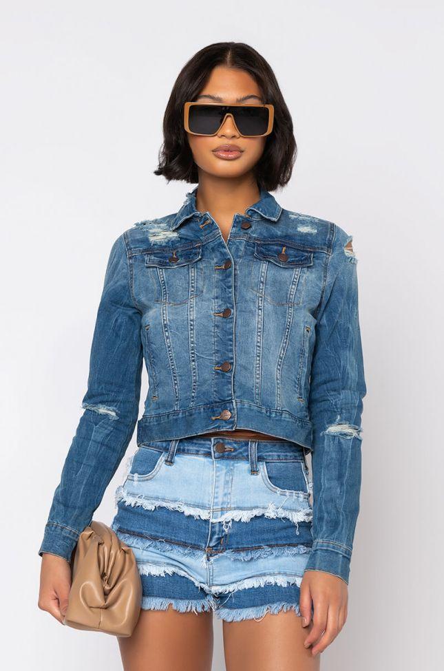 Side View Dont Let Up Distressed Denim Jacket in Blue