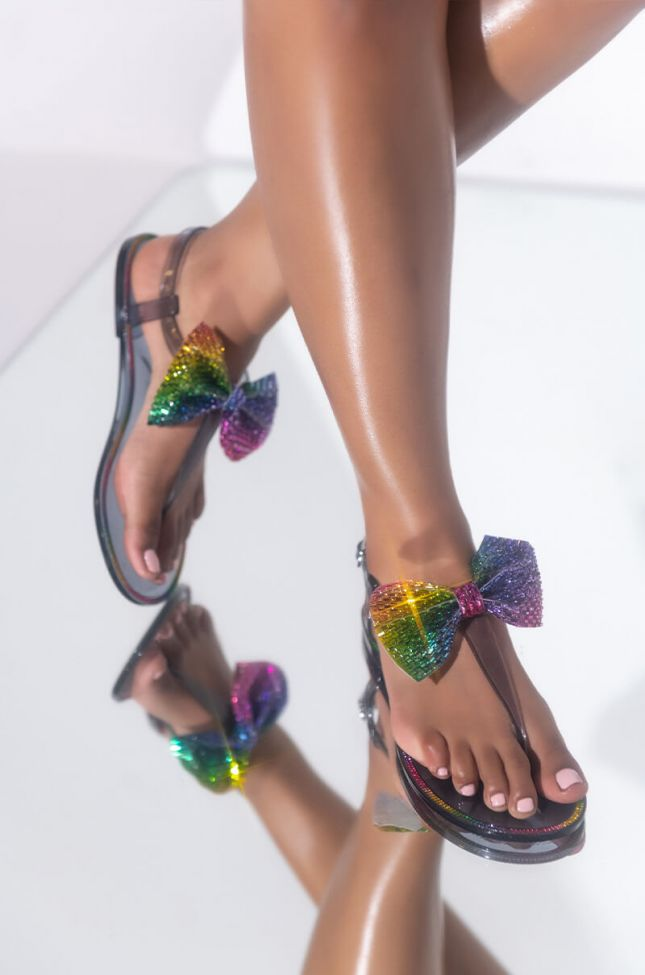Front View Dont Phase Me Flat Sandal in Multi
